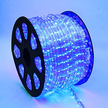 Amazon Com Wyzworks 300 Ft Of Blue Pre Assembled Led Rope Lights 2 Wire Christmas Holiday Decoration Indoor Outdoor Lighting Ul Certified Garden Outdoor