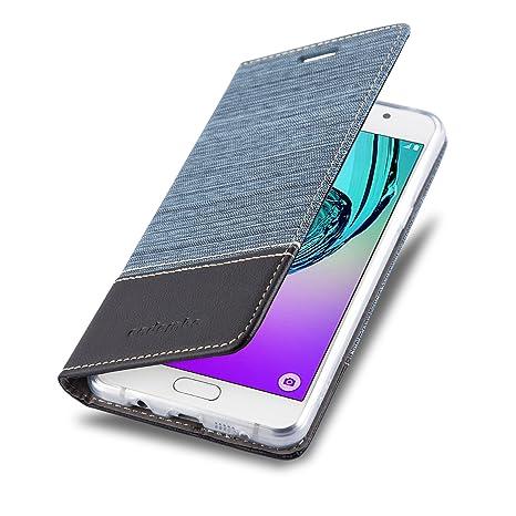 Cadorabo Hülle für Samsung Galaxy A3 2016 (6) - Hülle in DUNKEL BLAU SCHWARZ – Handyhülle mit Standfunktion und Kartenfach im