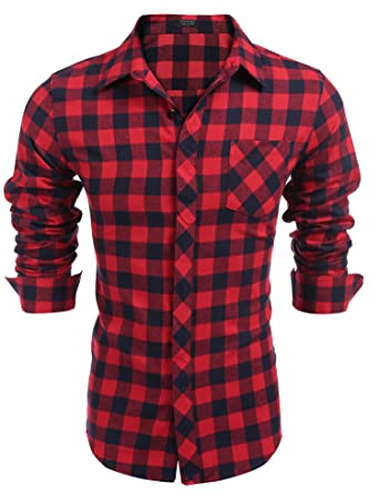 Coofandy Herren Hemd Langarm Kariert Freizeit Hemd Baumwolle Button-down  (XL, Red)