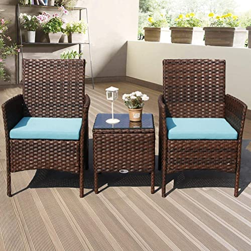 DIMAR GARDEN 3 Pieces Outdoor Patio Furniture Set Porch Conversation Rattan Wicker Chair