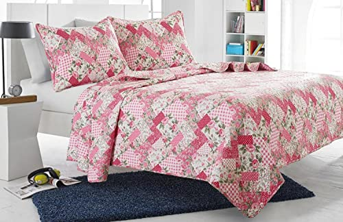 2pc Pink Floral Patchwork Quilt Set