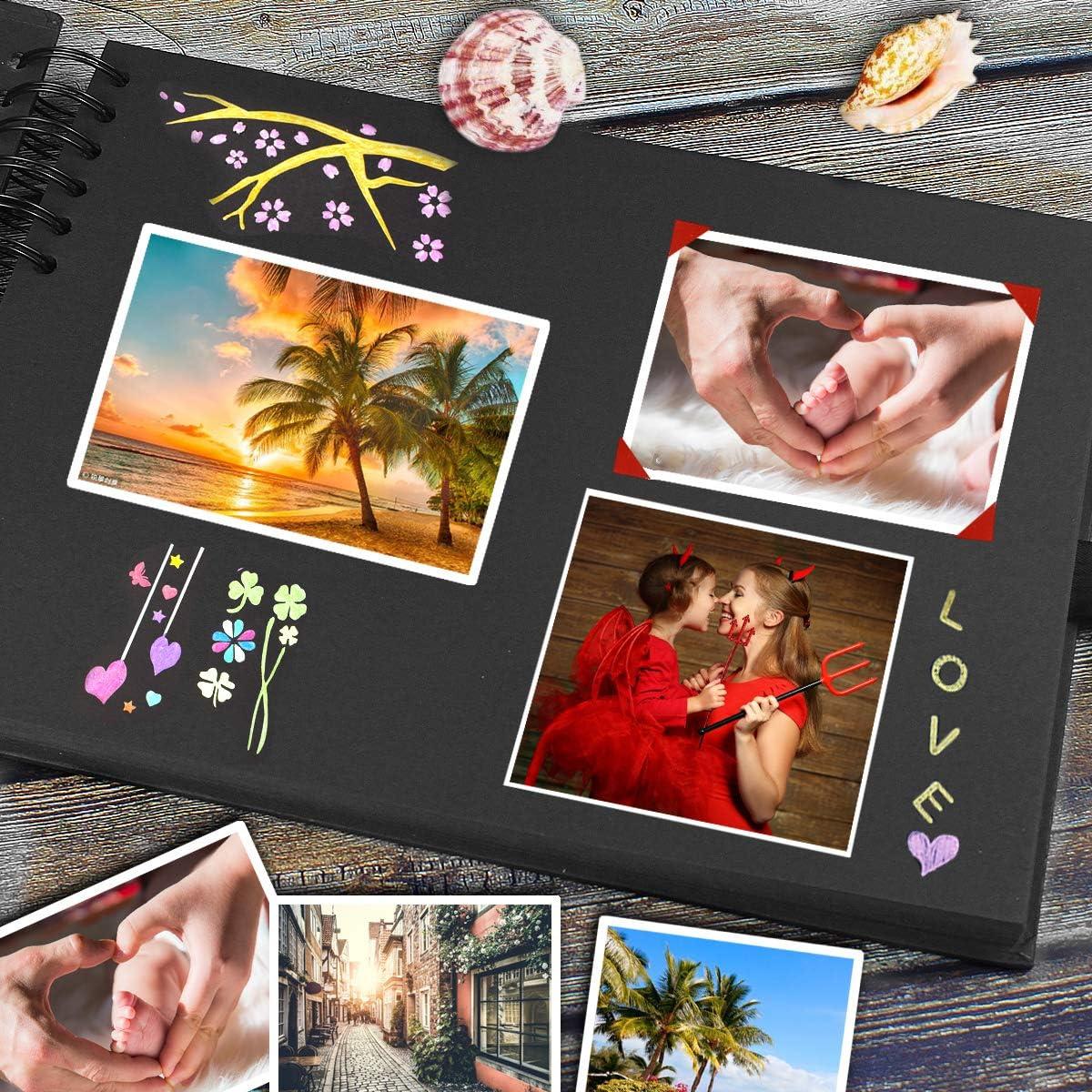 Album de Fotos para Pegar y Escribir Album Fotos Scrapbook 80 P/áginas Hojas Negras Personalizar /álbum de Fotos DIY Scrapbooking Albunes para Fotos para Regalar Enamorados//Boda//Graduaci/ón//Navidad