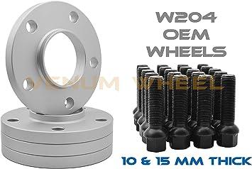 4 Pc 15mm Thick Black BMW 5x112 Hub Centric Wheel Spacer Kit 14x1.25 Lug Bolts