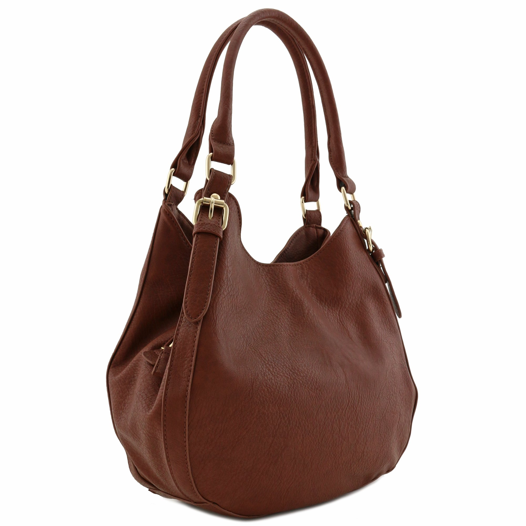 Light-weight 3 Compartment Faux Leather Medium Hobo Bag (Coffee)