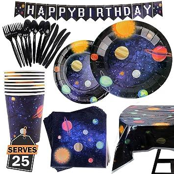 177 Artículos con Diseño del Espacio y Galaxia-Desechables para Fiesta y Celebración de Cumpleaños Espacial – Vasos, Platos, Servilletas, Cubiertos y ...