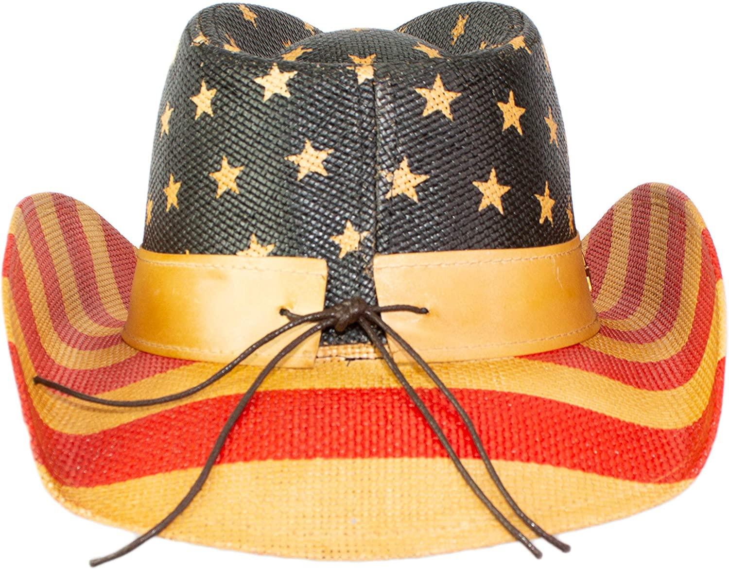 Vintage Patriotic USA American Flag Stars and Stripes Western Cowboy Hat for Men or Women Shapable Brim