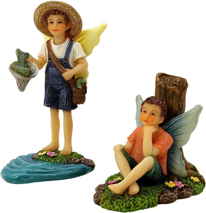 PRETMANNS Fairy Garden Fairies Accessories - Fishing Buddies Fairy Set - Miniature Boy Fairy Garden Accessories 2 Piece Kit