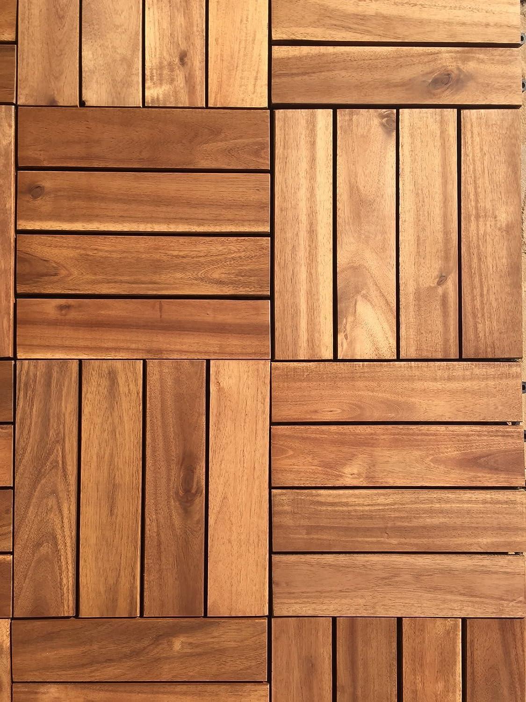 Baldosas con 4 listones de madera noble de acacia, cubierta para patios, jardines, balcones, bañeras de hidromasaje (72 unidades extra gruesas)Baldosa ...
