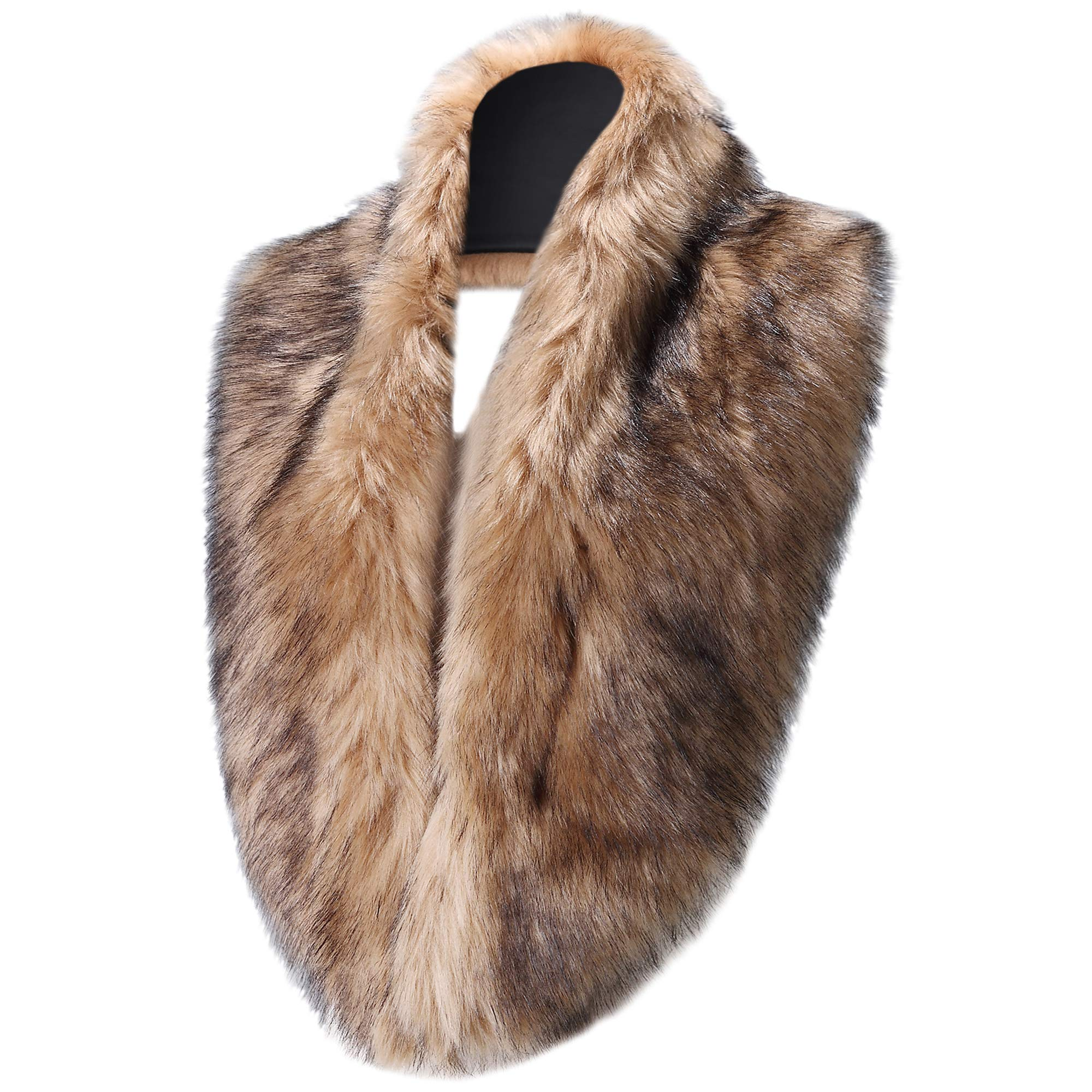 Caracilia Women's Faux Fur Collar for Winter Coat Neck Warmer Scarf Wrap Khaki Black CA96