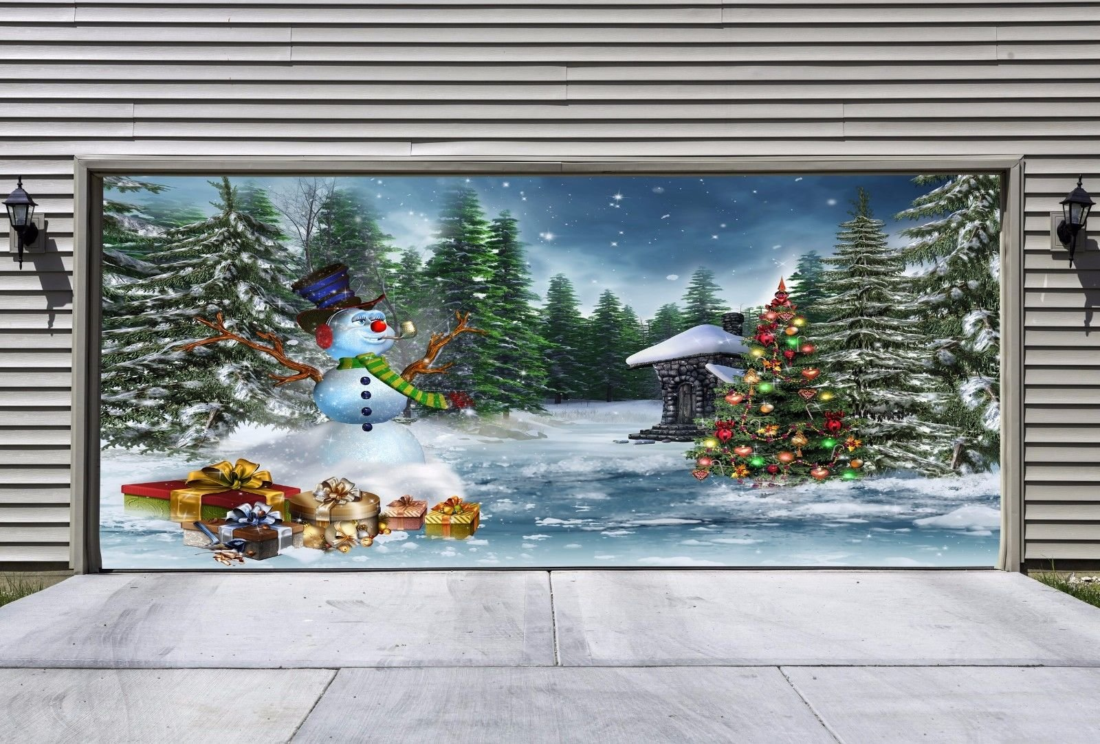 Christmas Garage Door UNIQUE Full Color Covers Banners Outdoor Holiday Decorations Billboard for 2 Car Garage Door Murals size 82x188 inches Christmas Decor DAV30