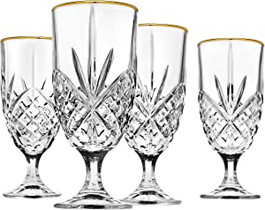 Godinger Iced Beverage Glasses, Gold Banded - Dublin Crystal, Set of 4