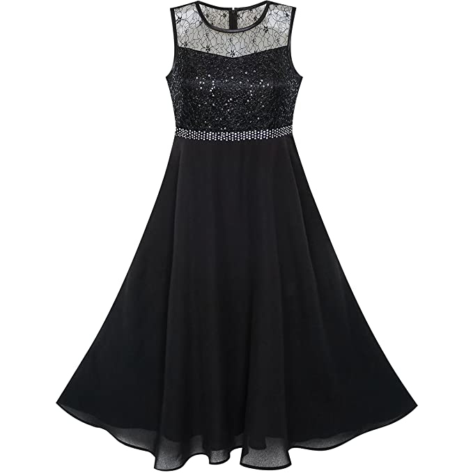 b4dcc7871a65 Girls Dress Rhinestone Chiffon Bridesmaid Dance Ball Maxi Gown Age 6 ...