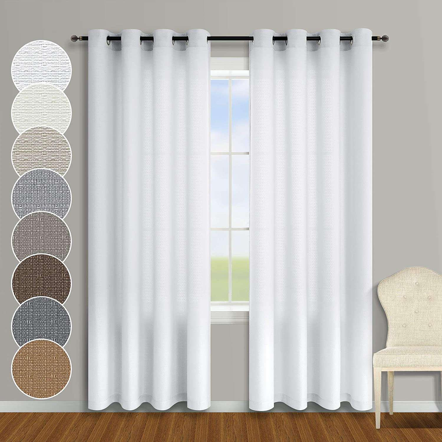 Semi Sheer White Curtains 95 Inches Long for Shabby Chic Decor 2 Panels Set Grommet Farmhouse Light Filtering Window Covering Faux Linen Cotton Curtains for Living Room Bedroom Plain White 95 Length
