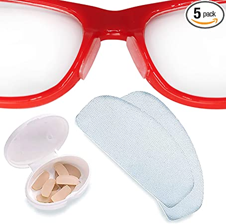 Setex Gecko Grip Anti-Slip Nose Pads for Eyeglasses, (5 Clear Pair) USA Made, Innovative Microstructured Fibers, 1mm x 7mm x 16mm