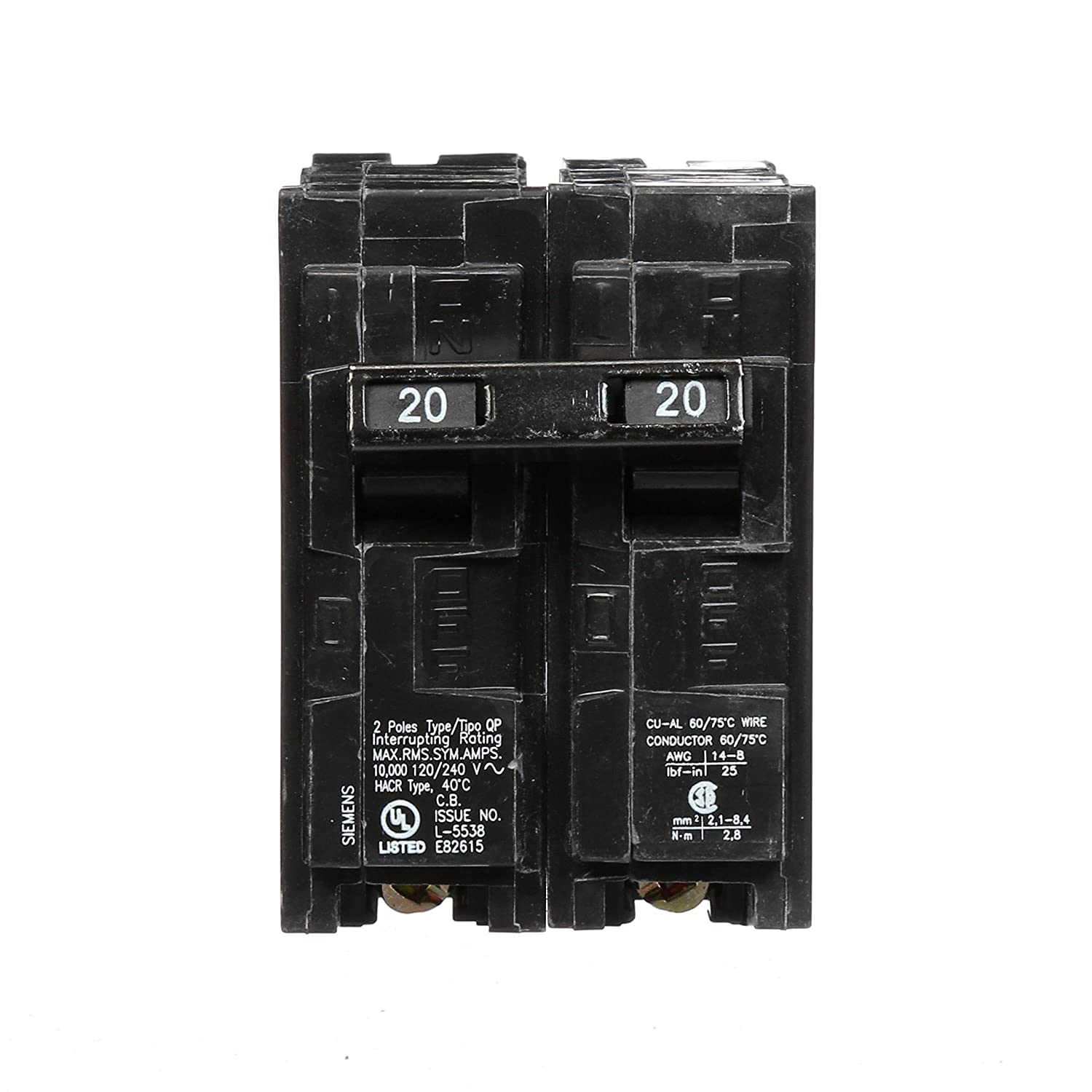 Q220 20-Amp Double Pole Type QP Circuit Breaker - - Amazon.com