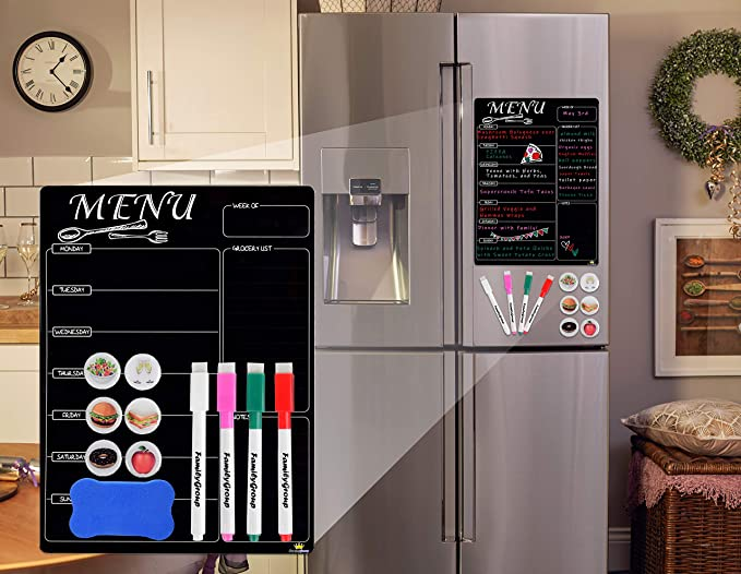 Magnetic Menu Board For Kitchen Refrigerator Dry Erase Planner And Liquid Chalkboard Schedule Dinner For The Family Emoji Magnets And Eraser Included Amazon In Sports Fitness Outdoors