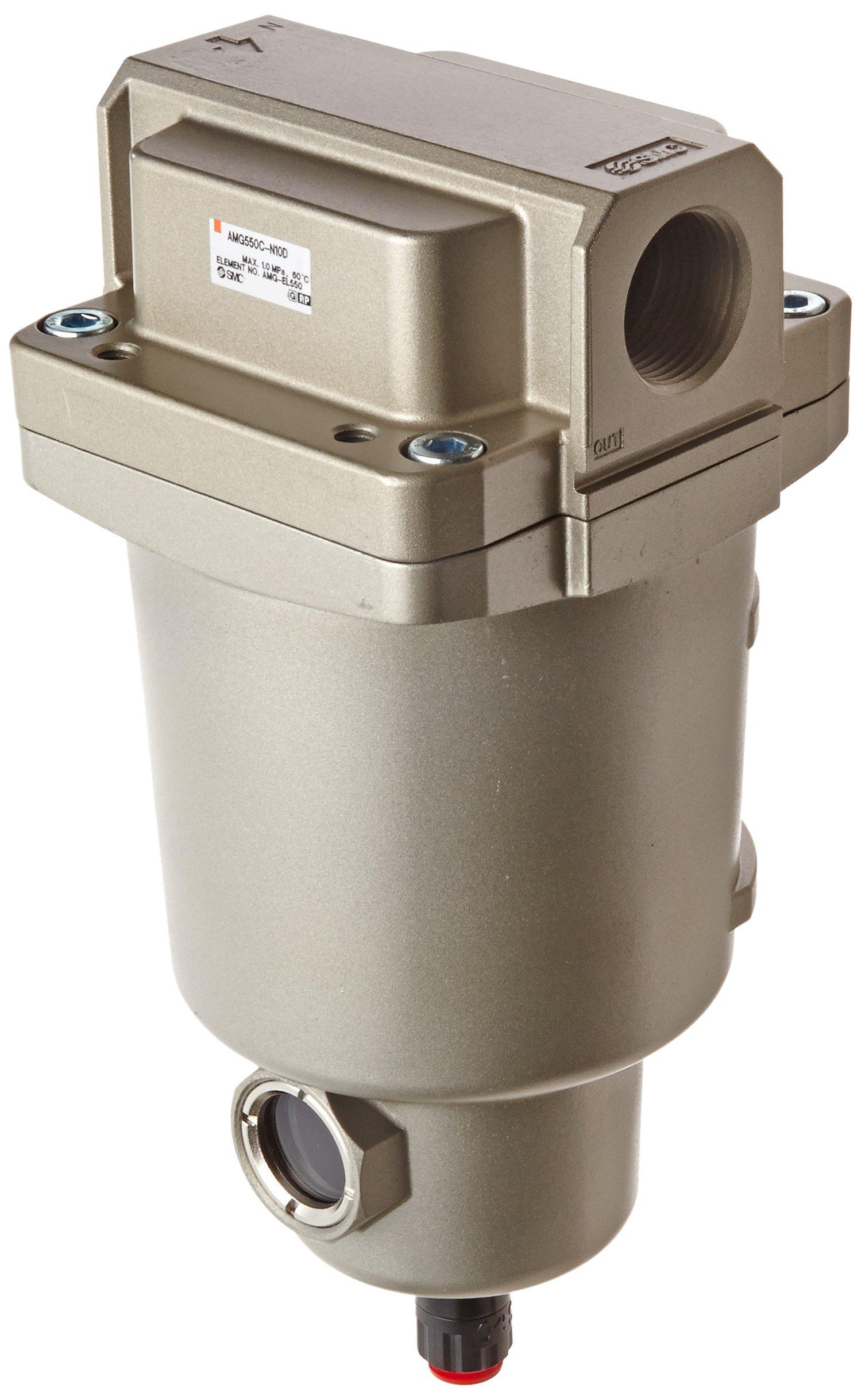 SMC AMG550C-N10D Water Separator, N.O. Auto Drain, 3,700 L/min, 1'' NPT