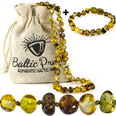 Baltic Amber Necklace and Bracelet Gift Set (Unisex Green Forest) - Certified Highest Quality Raw Baltic Amber: Health & Personal Care
