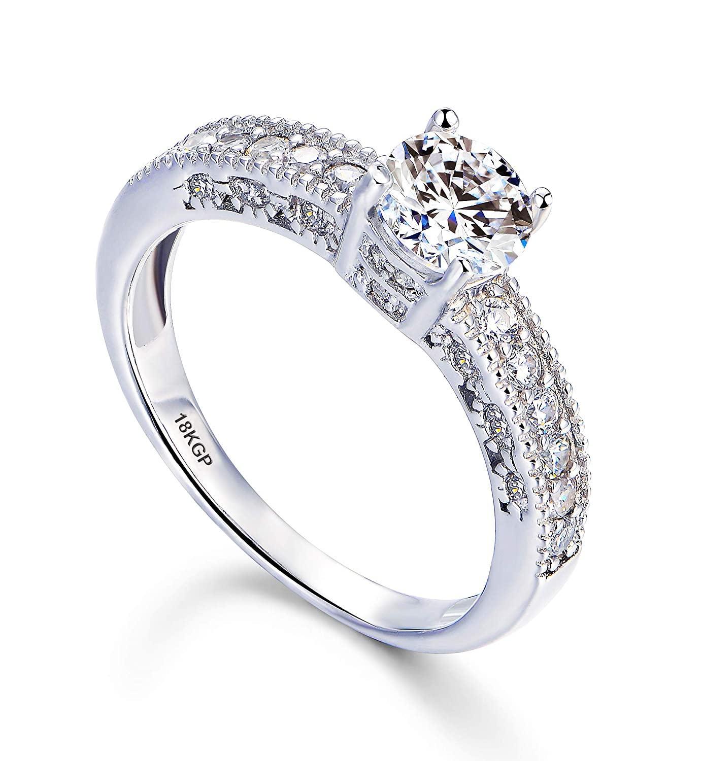 Andreangel White Gold Plated 18k 3 Microns Thickness Over Sterling Silver Solid 925 Engagement Wedding Ring Women 6 Mm 075 Carats Cubic Zirconia 5a
