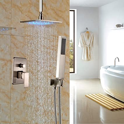 overhead rain shower head with handheld. Rozin Brushed Nickel Rainfall Shower Faucet Ceiling Mount LED 16 Quot  Head With Hand Spray