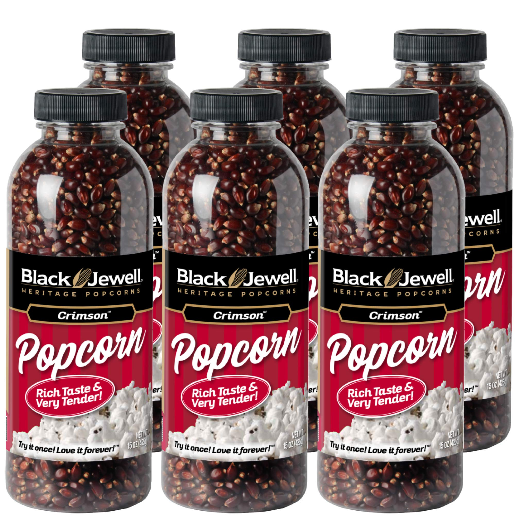 Black Jewell Crimson Hulless Popcorn Kernels 15 Ounces (Pack of 6) by Black Jewell