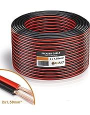 Manax–Cable de Altavoz (2x 1,50mm², CCA, Rojo/Negro Rollo de 50m