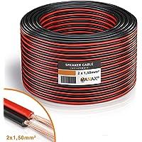 Manax câbles d'® câble d'enceinte 2 x 1,50 mm²-cCA-rouge/noir - 50 m