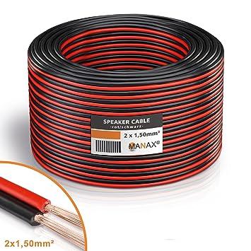 MANAX® Lautsprecherkabel weiß 2x1,5mm² 30m Ring, rot/schwarz: Amazon ...