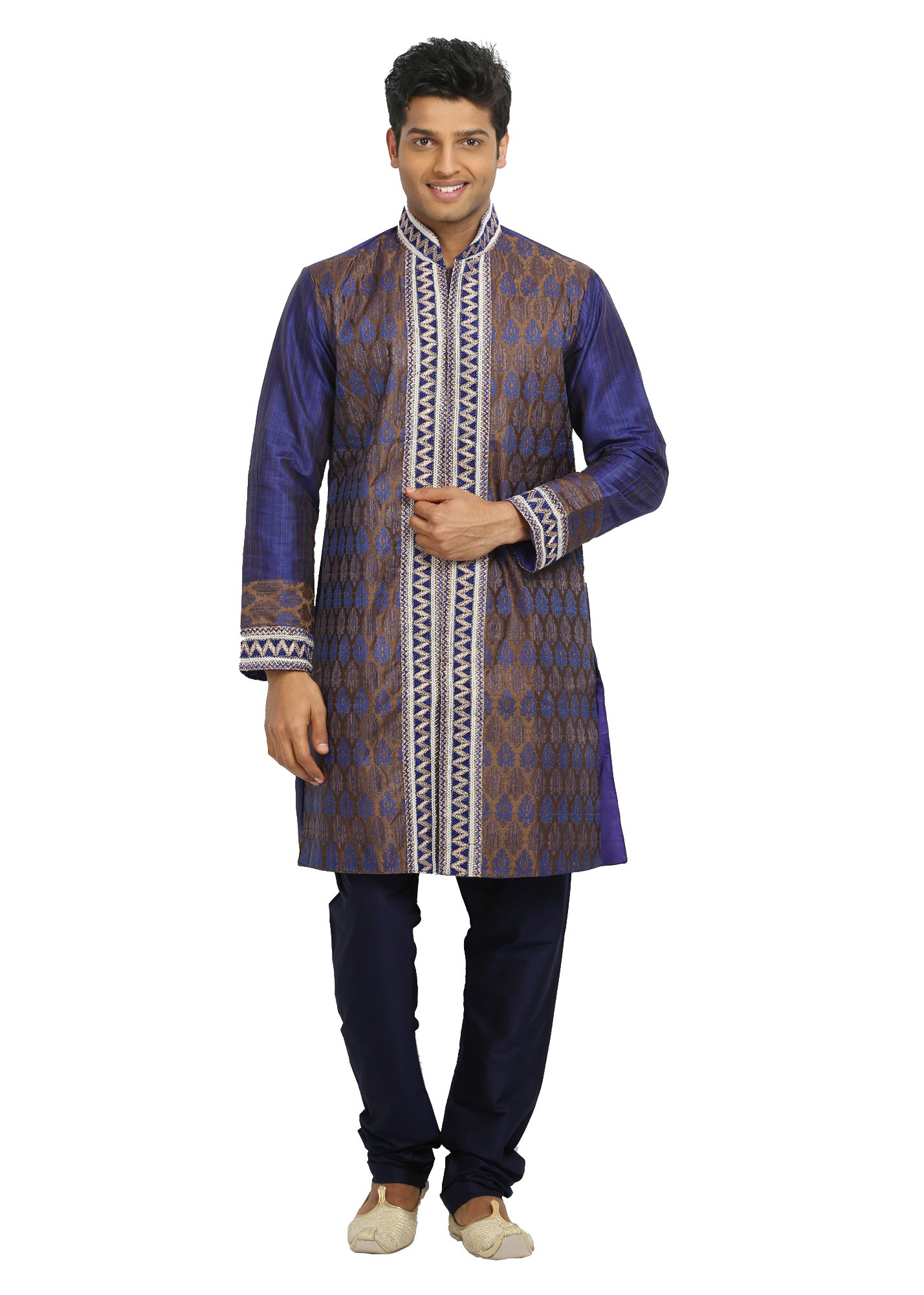 Saris and Things Blue Violet Indian Wedding Kurta Pajama for Men