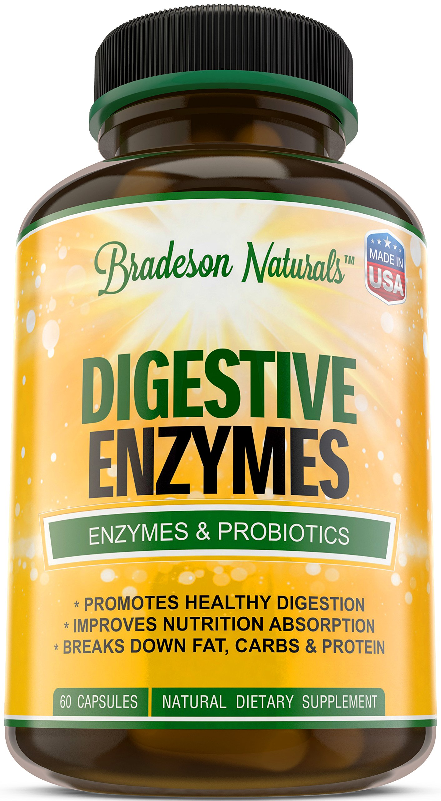 Digestive Enzymes by Bradeson Naturals - Enzymes & Probiotics, Natural Dietary Supplement, 60 Capsules