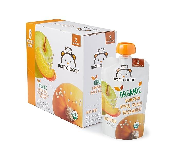 Amazon Brand - Mama Bear Organic Baby Food, Stage 2, Pumpkin Apple Peach Buckwheat, 4 Ounce Pouch (Pack of 12)