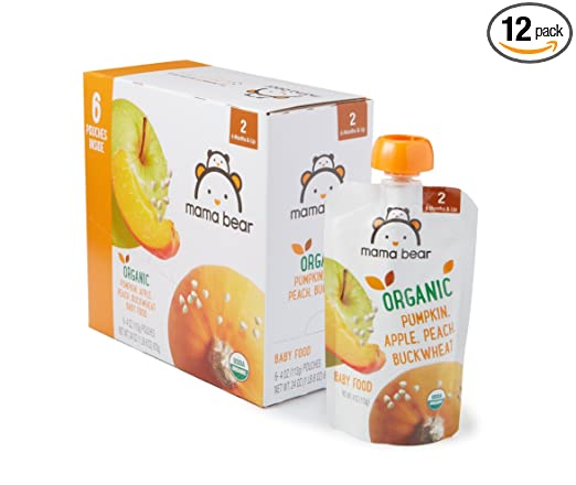 Amazon Brand - Mama Bear Organic Baby Food, Stage 2, Pumpkin Apple Peach Buckwheat, 4 Ounce Pouch (Pack of 12)
