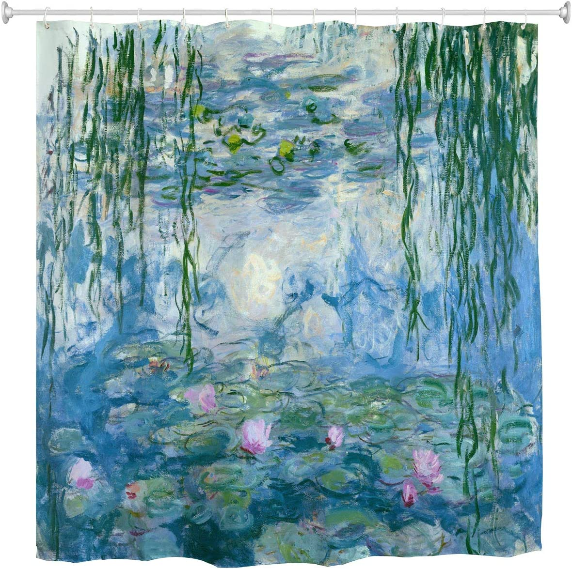 Home Decor Shower Curtain Water Lilies by Claude Monet Oil Paintings Flowers Waterproof Resistant, Fabric Bathroom Decor Set with 12 Hooks, 72