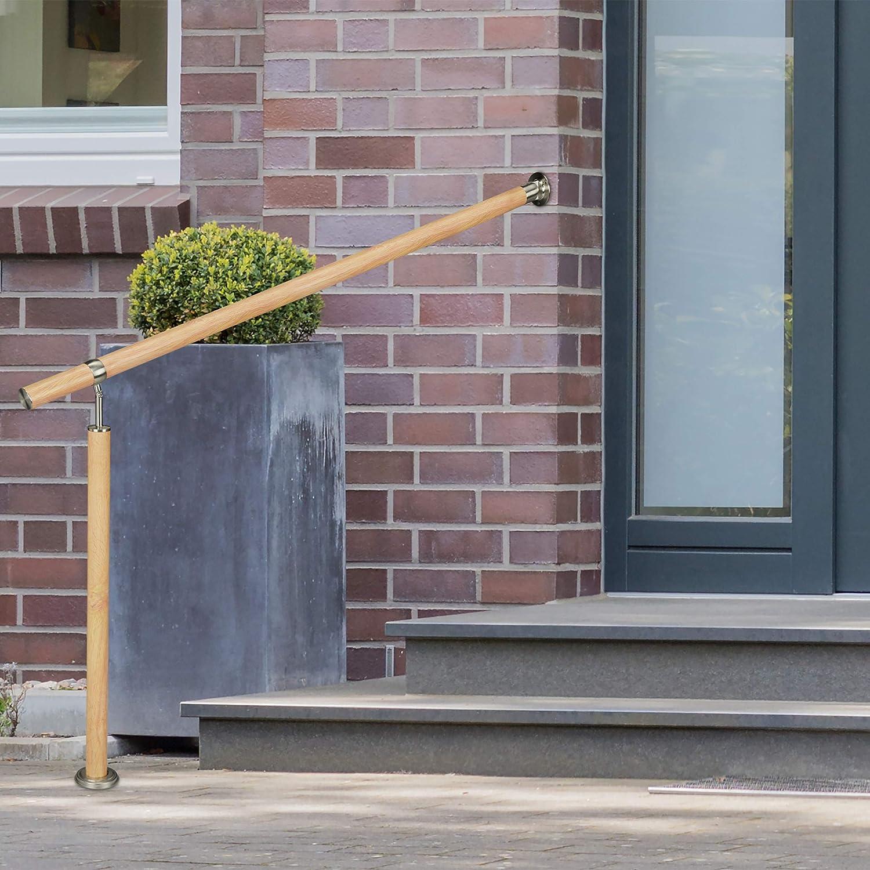 Aluminio-Acero Inoxidable 80 cm 1 Ud /Ø 42 mm 90 cm Alto Interior y Exterior Marr/ón Relaxdays Pasamanos Escalera