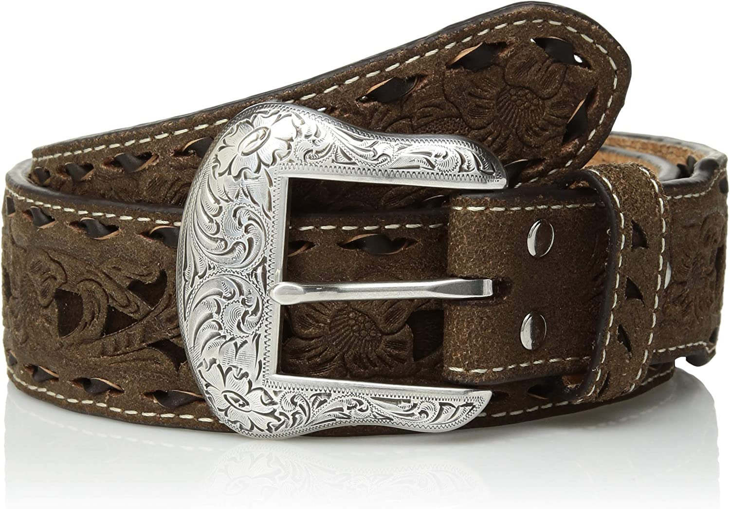 Mens Nocona Brown Tone Inlay Buck Taper Belt Nocona Belt Co