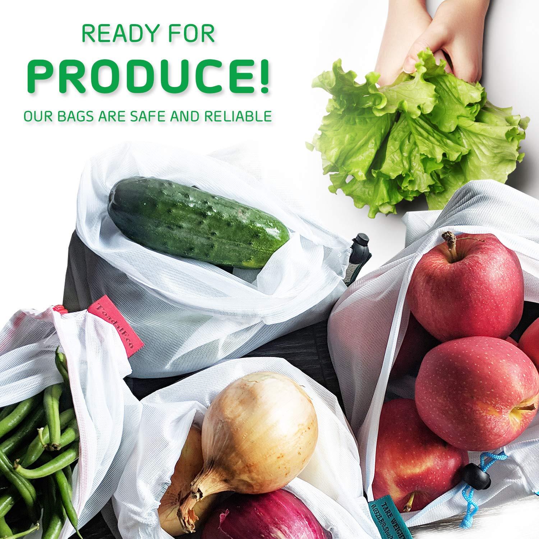 Amazon.com: Juego de 9 bolsas de malla reutilizables con ...