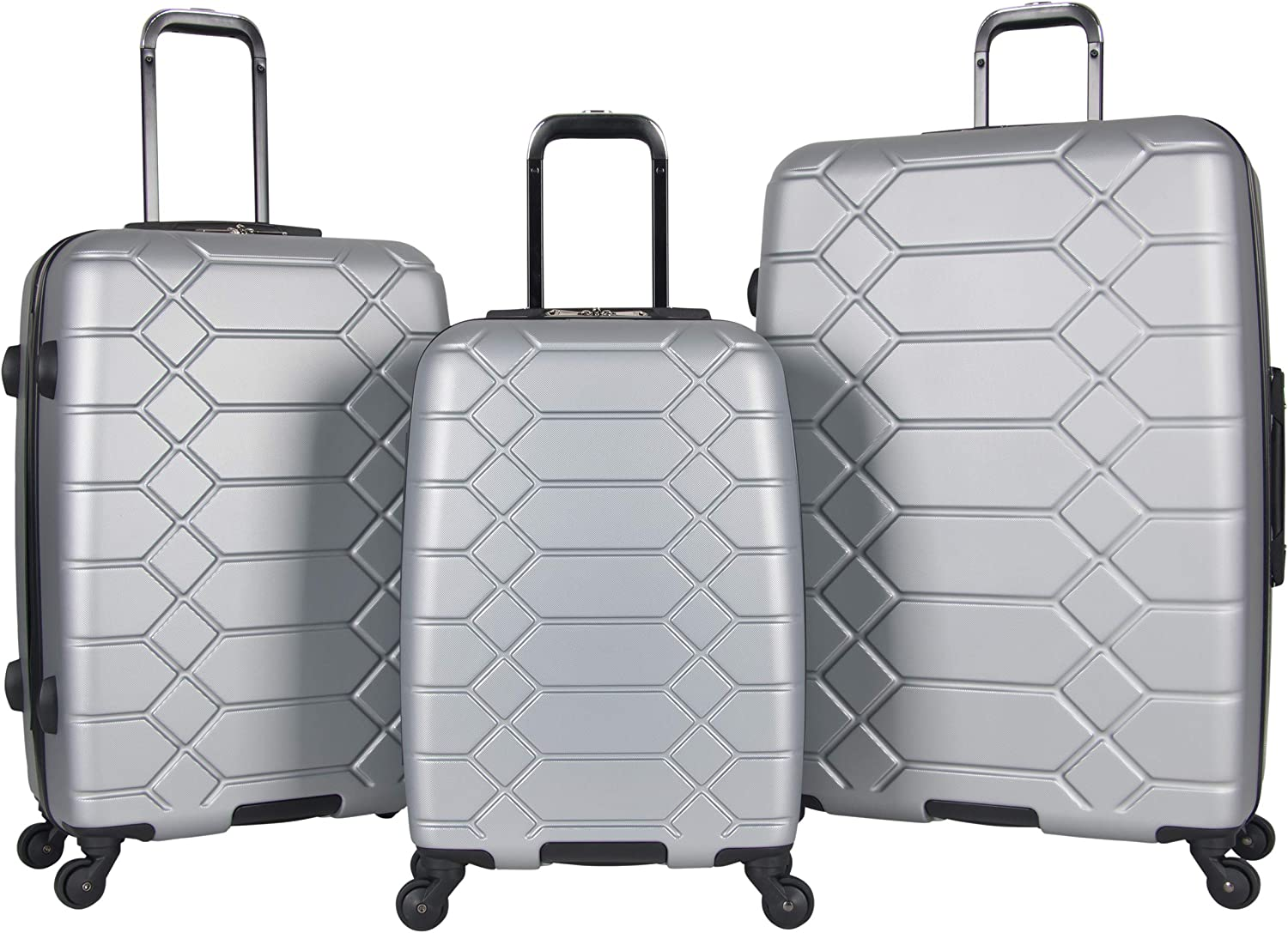 Aimee Kestenberg Diamond Anaconda Womens 24 Lightweight Hardside 4-Wheel Spinner Checked Suitcase Black