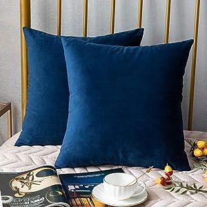 DEZENE 20x20 Throw Pillow Covers Dark-Blue: 2 Pack Cozy Soft Velvet Square Decorative Pillow Cases for Farmhouse Home Decor