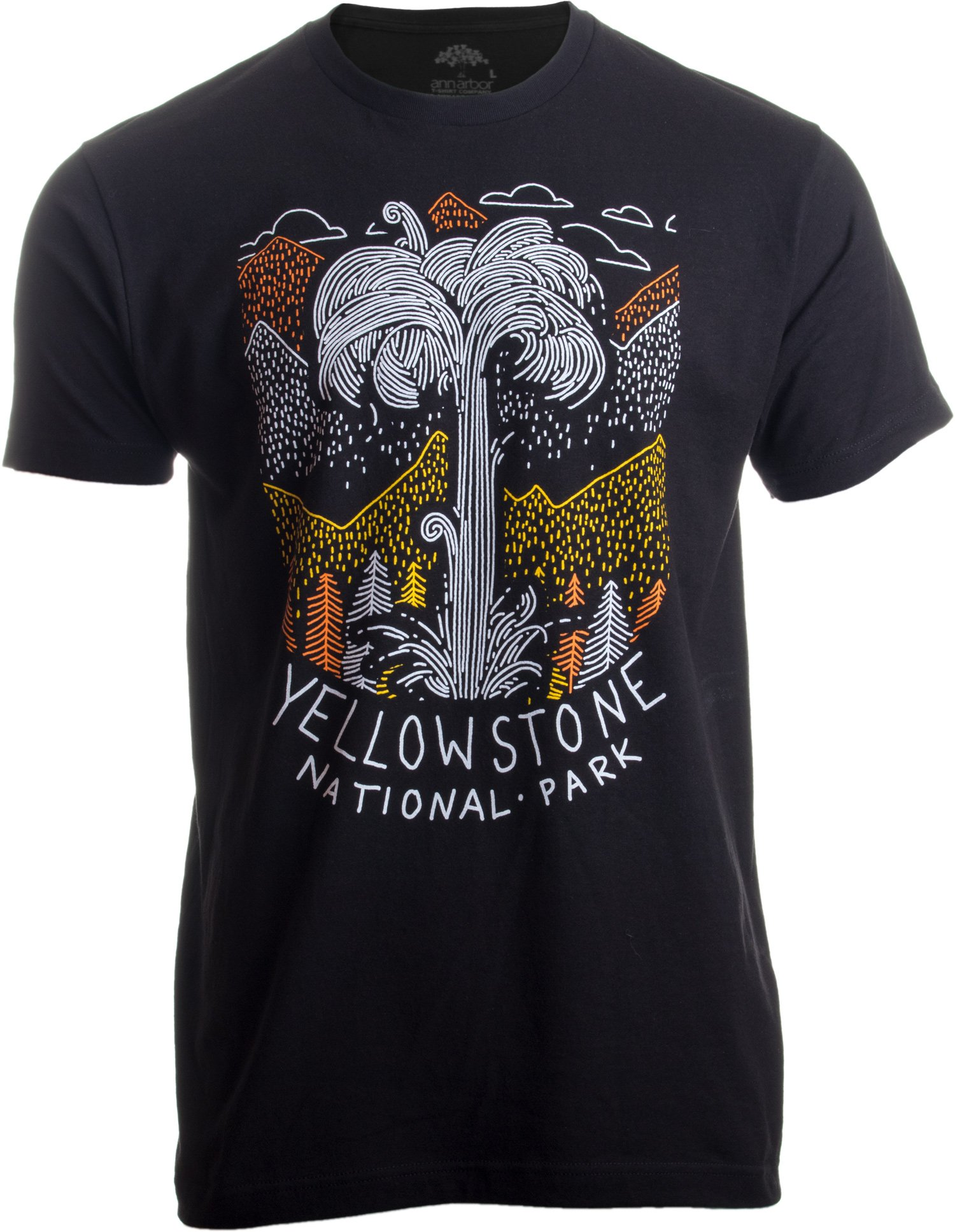 Yellowstone National Park | Geographic Poster Print Travel Art Men Women T-Shirt-(Adult,XL)