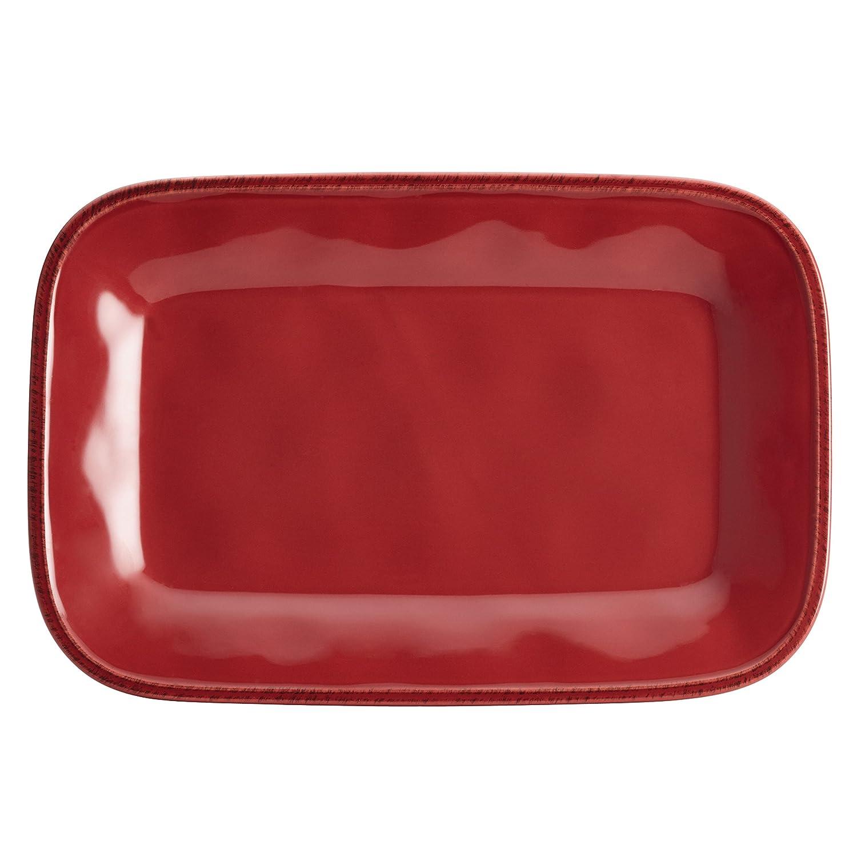 Rachael Ray Cucina Dinnerware Stoneware Rectangular Platter, 8-Inch by 12-Inch, Agave Blue 57231