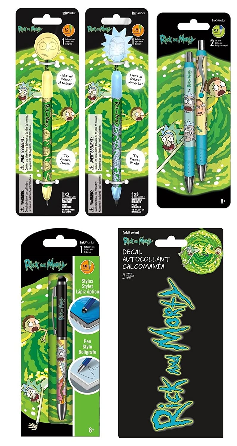 Rick and Morty 5 pack Writing Set With Bonus Decal Sticker