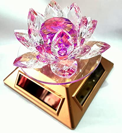 Buy divya shakti feng shui kamal crystal lotus flower with auto divya shakti feng shui kamal crystal lotus flower with auto rotating solar stand religious gift mightylinksfo