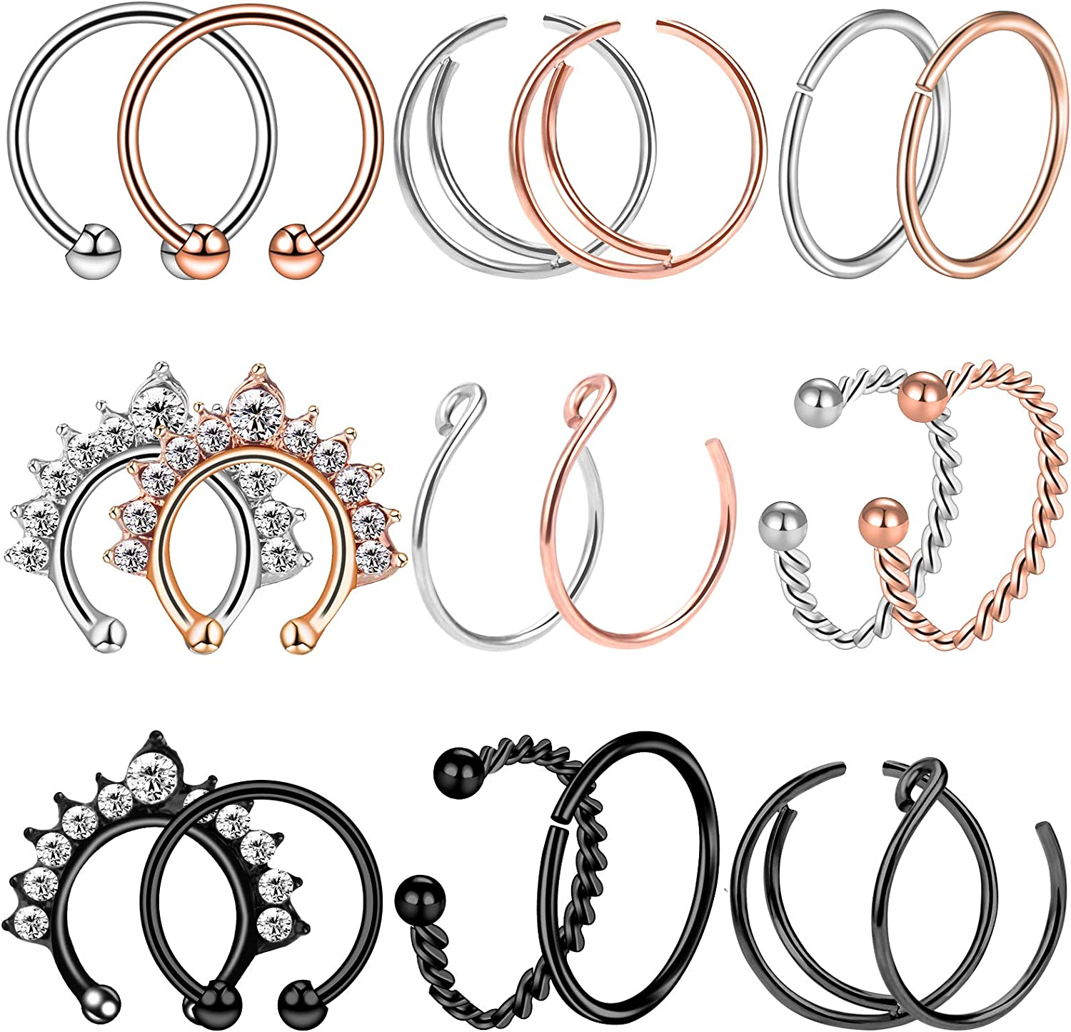 BodyBonita Fake Nose Rings Septum Leaf Opal Faux Nose Ring Hoop Clip on Nose Non-Piercing Jewelry Mixed Color Body Jewelry for Women Men