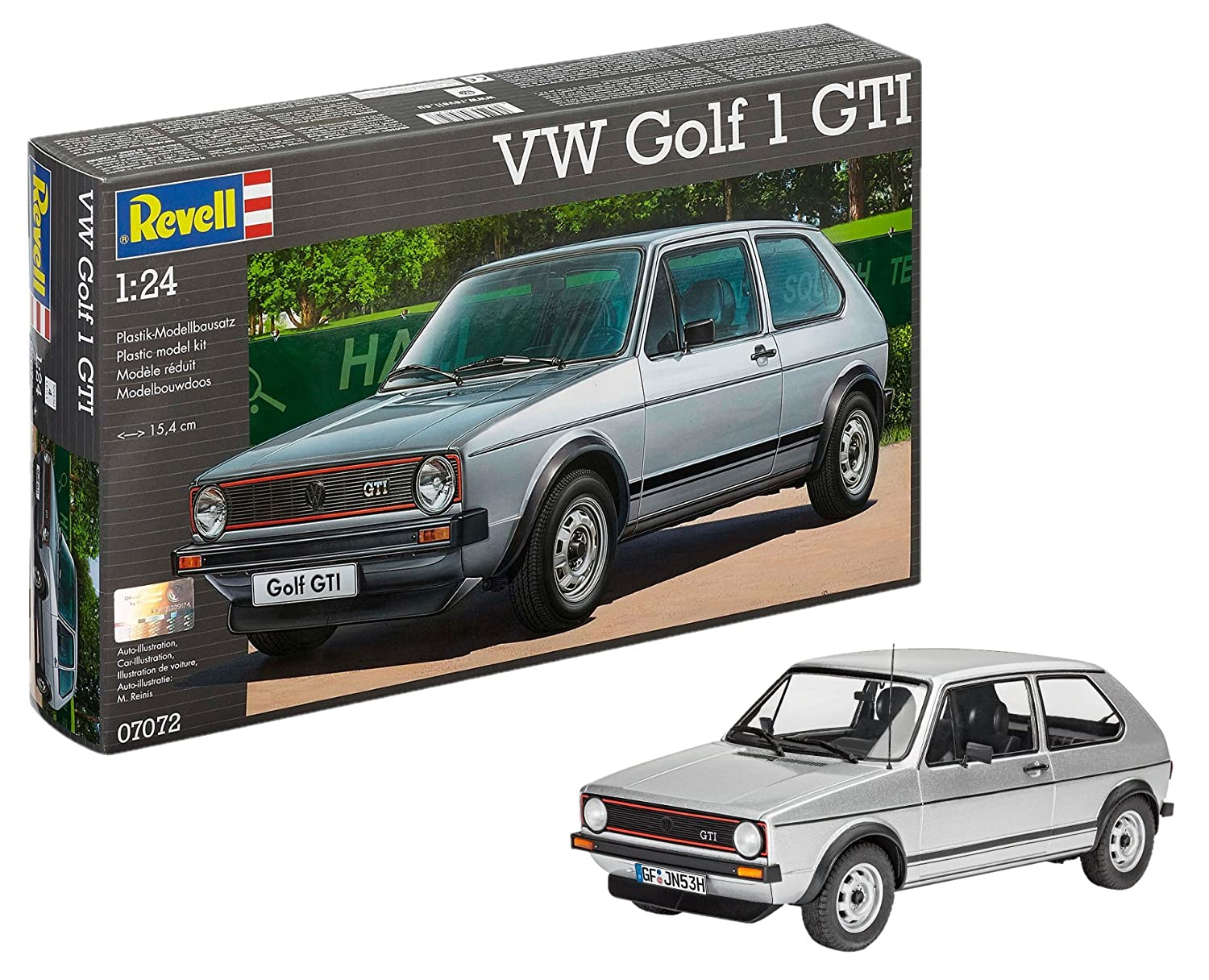 Revell Revell-07072 Volkswagen Maqueta VW Golf 1 GTI, Kit Modelo, Escala 1:24 (07072), Color Plata (
