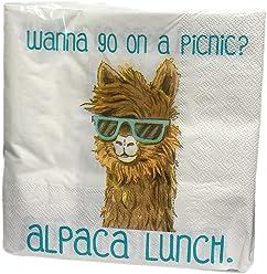 Wanna Go on a Picnic? Alpaca Lunch Funny Llama Alpaca Wearing Sunglasses 40 Pack 3
