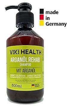 VIKI HEALTH Arganöl Shampoo - ohne Silikone, Salze und Parabene - bei trockenen, beschädigten Haar - für Volumen - mit wertvo