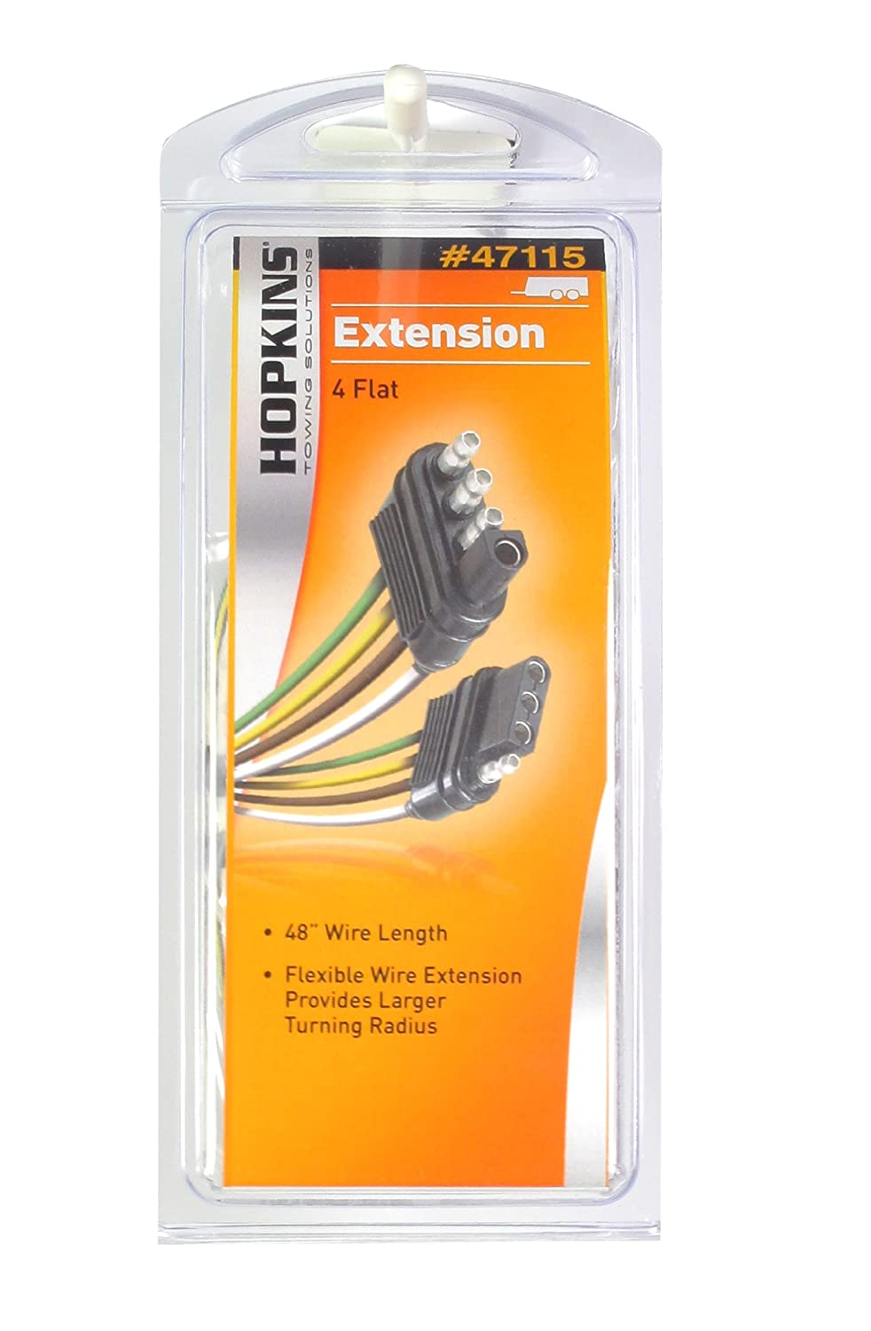 Hopkins 47115 4 Wire Flat Extension 48 Length Automotive Trailer Wiring Harness Converter Box