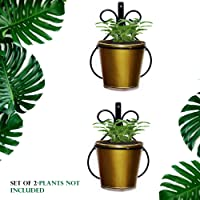 Wall Mount Metal Planter Stand with Round Galvanized Bucket Planter (Set of 2 Pcs)