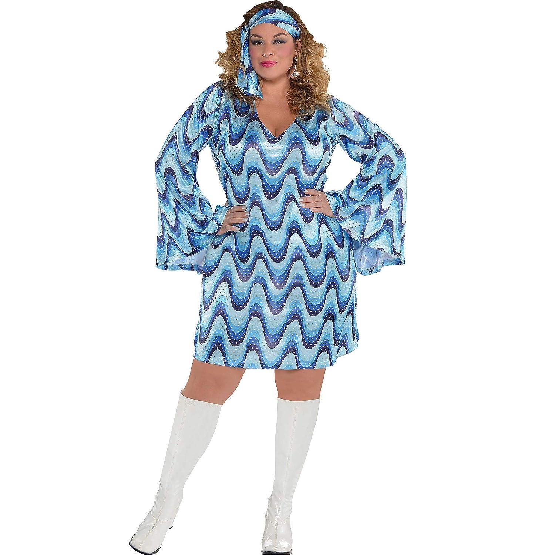AMSCAN Disco Blue Costume Femme Robe et bandeau