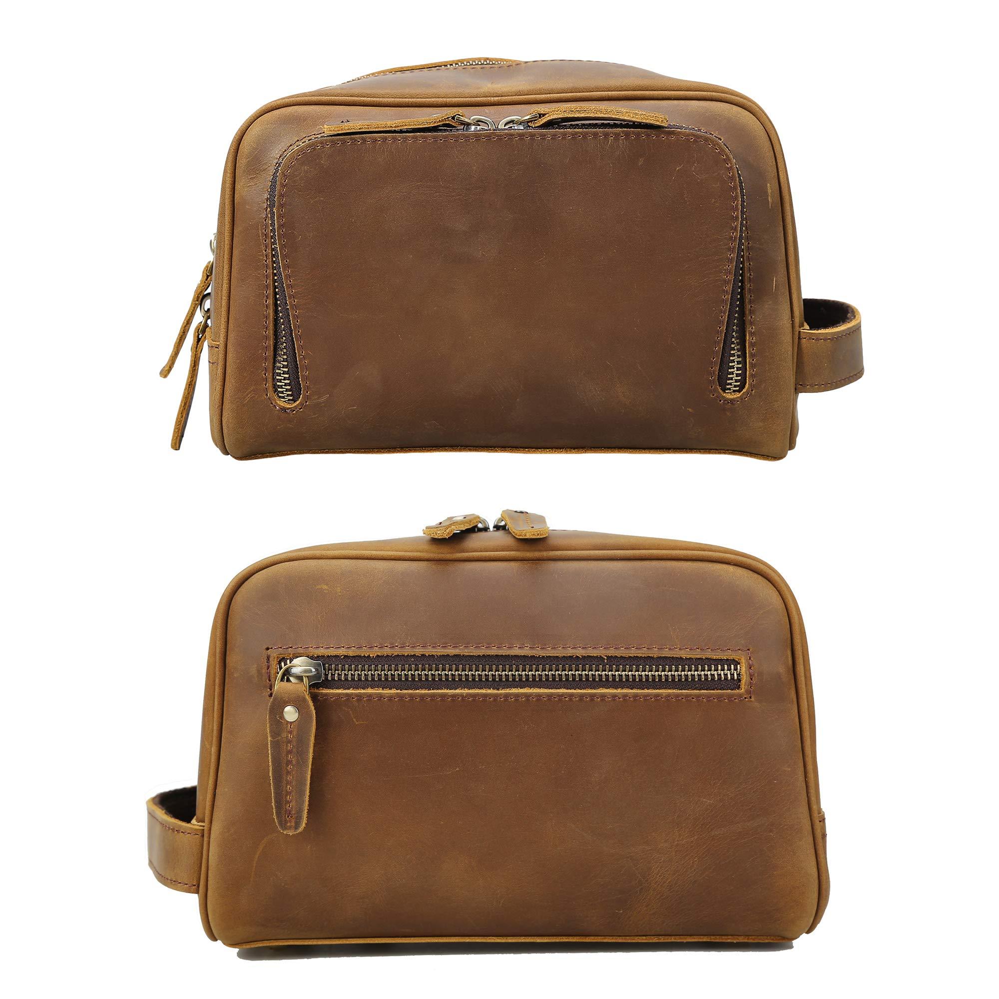 Polare Vintage Full Grain Leather Handmade Travel Toiletry Bag for Men - Dopp Kit - Shaving Kit by POLARE ORIGINAL (Image #3)